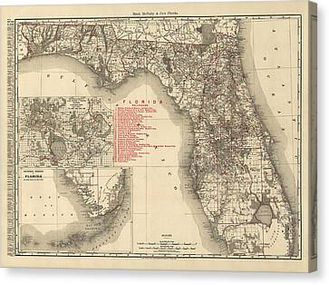 Antique Map Of Florida By Rand Mcnally And Company - 1900 Canvas Print by Blue Monocle