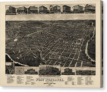 Old Canvas Print - Antique Map Of Fort Worth Texas By H. Wellge - 1886 by Blue Monocle