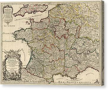 Antique Map Of France By Alexis Hubert Jaillot - 1724 Canvas Print by Blue Monocle