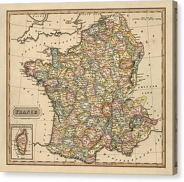 Antique Map Of France By Fielding Lucas - Circa 1817 Canvas Print by Blue Monocle