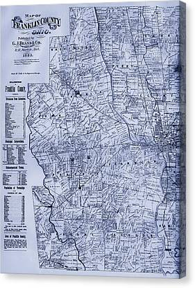 Antique Map Of Franklin County Ohio 1883 Canvas Print