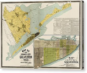 Antique Map Of Galveston Texas By The Island City Abstract And Loan Co. - 1891 Canvas Print by Blue Monocle