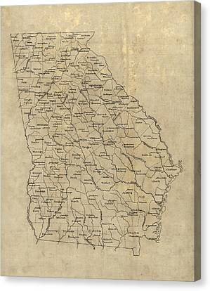 Old Canvas Print - Antique Map Of Georgia - 1893 by Blue Monocle