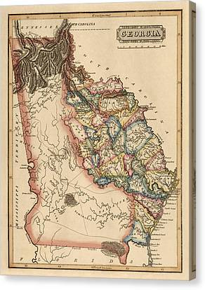 Old Canvas Print - Antique Map Of Georgia By Fielding Lucas - Circa 1817 by Blue Monocle