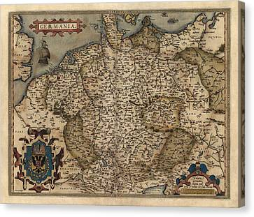 Antique Map Of Germany By Abraham Ortelius - 1570 Canvas Print by Blue Monocle