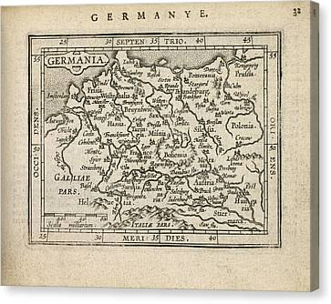 Antique Map Of Germany By Abraham Ortelius - 1603 Canvas Print by Blue Monocle