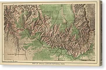 Grand Canyon National Park Canvas Print - Antique Map Of Grand Canyon National Park By The National Park Service - 1926 by Blue Monocle