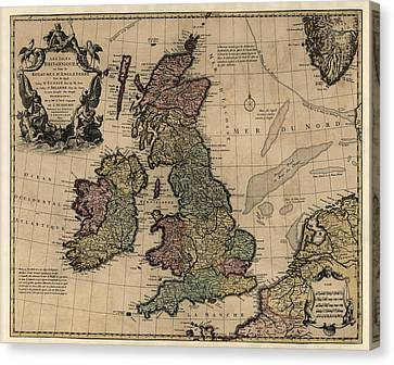 Antique Map Of Great Britain And Ireland By Guillaume Delisle - Circa 1730 Canvas Print by Blue Monocle