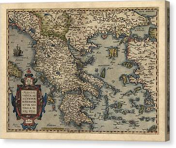Antique Map Of Greece By Abraham Ortelius - 1570 Canvas Print by Blue Monocle