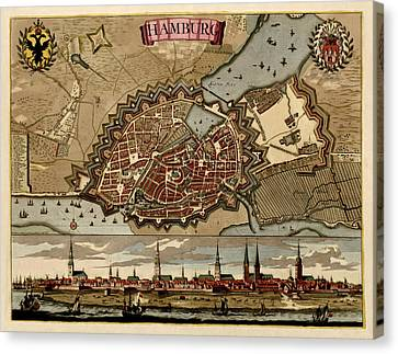 Antique Map Of Hamburg Germany By Pieter Schenk - Circa 1702 Canvas Print by Blue Monocle