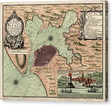 Antique Map Of Havana Cuba By Jacques Nicolas Bellin - 1739 Canvas Print by Blue Monocle
