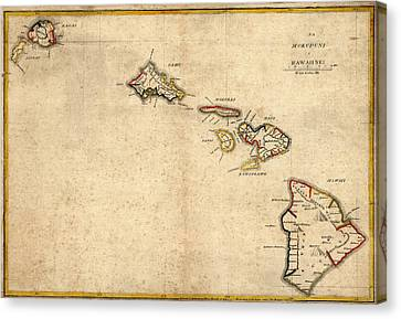 Antique Map Of Hawaii By Simona P. Kalama - 1837 Canvas Print by Blue Monocle