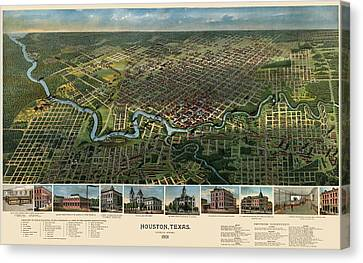 Antique Map Of Houston Texas - 1891 Canvas Print by Blue Monocle