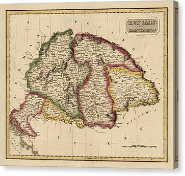 Old Canvas Print - Antique Map Of Hungary By Fielding Lucas - Circa 1817 by Blue Monocle