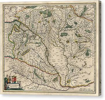 Canvas Print featuring the drawing Antique Map Of Hungary By Willem Janszoon Blaeu - 1647 by Blue Monocle