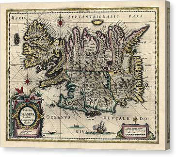 Canvas Print featuring the drawing Antique Map Of Iceland By Willem Janszoon Blaeu - 1647 by Blue Monocle