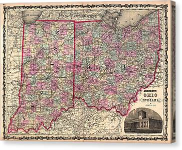 Antique Map Of Indiana And Ohio Canvas Print