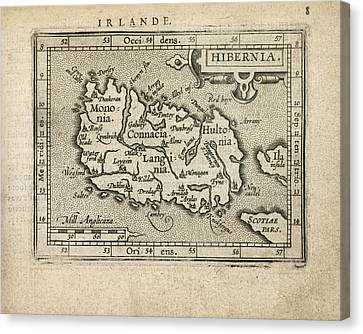 Antique Map Of Ireland By Abraham Ortelius - 1603 Canvas Print by Blue Monocle