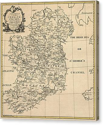 Old Canvas Print - Antique Map Of Ireland By S. Thompson - Circa 1795 by Blue Monocle