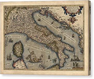 Antique Map Of Italy By Abraham Ortelius - 1570 Canvas Print by Blue Monocle