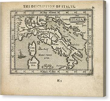 Antique Map Of Italy By Abraham Ortelius - 1603 Canvas Print by Blue Monocle