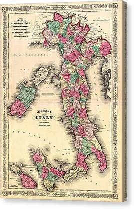 Antique Map Of Italy Canvas Print by Mountain Dreams
