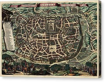 Antique Map Of Jerusalem By Nicolaes Visscher - Circa 1660 Canvas Print by Blue Monocle