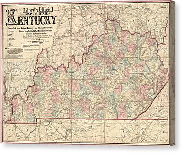 Old Canvas Print - Antique Map Of Kentucky By James T. Lloyd - 1862 by Blue Monocle