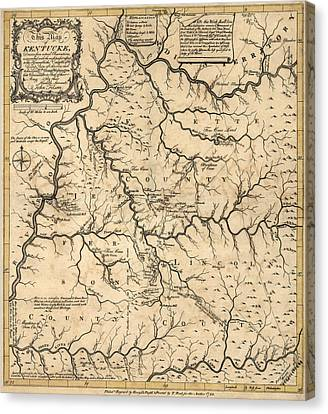 Antique Map Of Kentucky By John Filson - 1784 Canvas Print by Blue Monocle