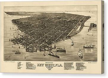 Antique Map Of Key West Florida By J. J. Stoner - 1884 Canvas Print