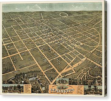 Antique Map Of Lexington Kentucky By A. Ruger - 1871 Canvas Print