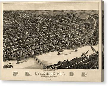 Antique Map Of Little Rock Arkansas By H. Wellge - 1887 Canvas Print