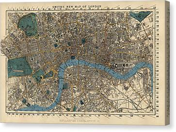 Old Canvas Print - Antique Map Of London By C. Smith And Son - 1860 by Blue Monocle