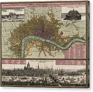 Antique Map Of London England By Johann Baptist Homann - Circa 1750 Canvas Print by Blue Monocle