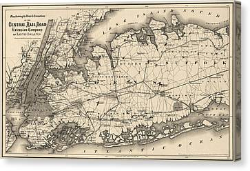 Antique Map Of Long Island And New York City - 1873 Canvas Print
