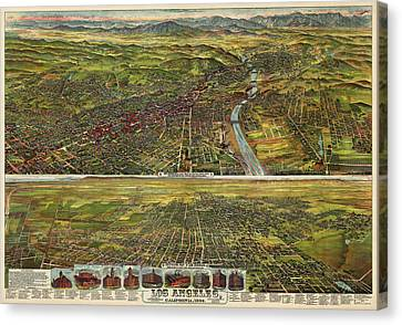 Antique Map Of Los Angeles California By B.w. Pierce - 1894 Canvas Print by Blue Monocle