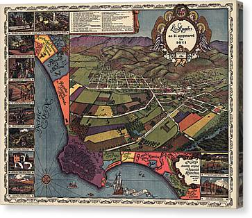 Antique Map Of Los Angeles California By Gores - 1929 Canvas Print by Blue Monocle