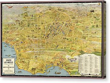 Antique Map Of Los Angeles California By K. M. Leuschner - 1932 Canvas Print by Blue Monocle