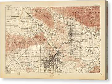 Antique Map Of Los Angeles - Usgs Topographic Map - 1897 Canvas Print by Blue Monocle