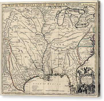 Antique Map Of Louisiana And The Mississippi River By John Senex - 1721 Canvas Print by Blue Monocle