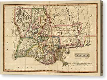 Antique Map Of Louisiana By Fielding Lucas - Circa 1817 Canvas Print by Blue Monocle