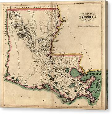 Antique Map Of Louisiana By Mathew Carey - 1814 Canvas Print by Blue Monocle