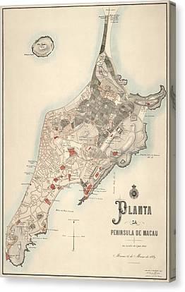 Antique Map Of Macau China By The Sociedade De Geografia De Lisboa - 1889 Canvas Print by Blue Monocle