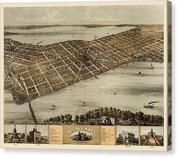 Old Canvas Print - Antique Map Of Madison Wisconsin By A. Ruger - 1867 by Blue Monocle