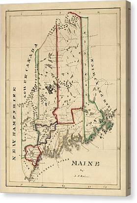 Antique Map Of Maine By A. T. Perkins - Circa 1820 Canvas Print by Blue Monocle