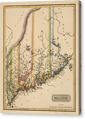 Antique Map Of Maine By Fielding Lucas - Circa 1817 Canvas Print by Blue Monocle
