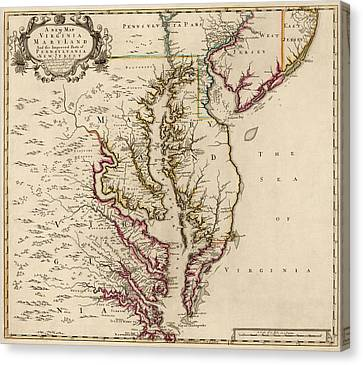 Maryland Canvas Print - Antique Map Of Maryland And Virginia By John Senex - 1719 by Blue Monocle