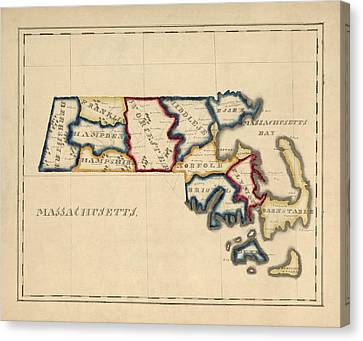 Antique Map Of Massachusetts By A. T. Perkins - Circa 1820 Canvas Print