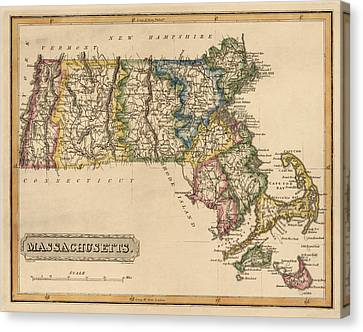Antique Map Of Massachusetts By Fielding Lucas - Circa 1817 Canvas Print