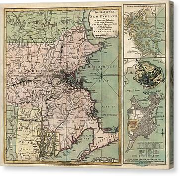 Antique Map Of Massachusetts By R. Sayer And J. Bennett - 1775 Canvas Print